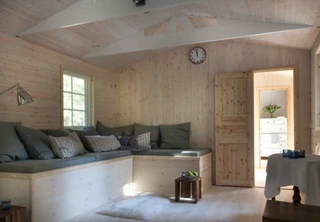 Houten chalet huisje van hout - Houten chalet interieur ...
